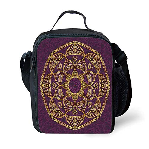 ZKHTO School Supplies Gold Mandala,Lace Style Circular Mandala Eastern Old Fashioned Nature Inspired Traditional Decorative,Purple Gold for Girls or Boys Washable Palm Double Old Fashioned