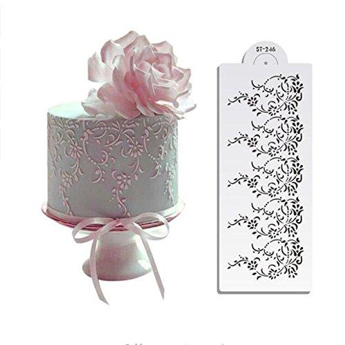 12,1cm hx12.75W Vintage Spitze Kuchen Schablone,, Cake Lace Seite Kunststoff, Kuchen, Seite Spitze Schablone,, Kuchen Dekoration Zucker Sieb,...