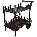 Tayyaba Enterprises Handcrafted Wooden Service Trolley/Dining Service Trolley/Kitchen Tools Storage Serving Trolley Standard Brown