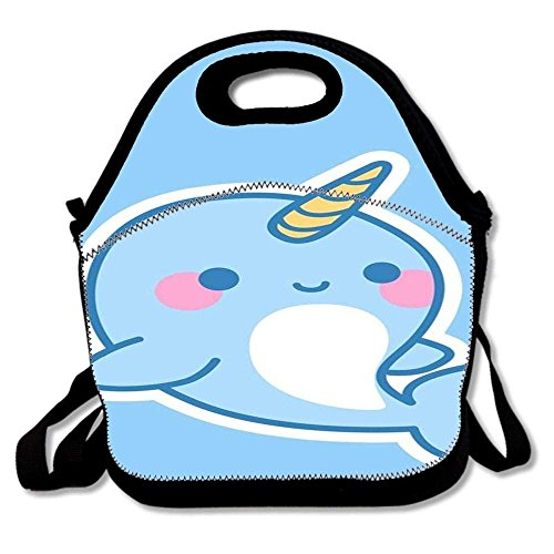 Cheap Insulated Lunch Bag Tote Reusable Waterproof School Picnic Carrying Gourmet Lunchbox Container Organizer For Women, Men, Adults, Kids, Girls and Boys - Kawaii Narwhal