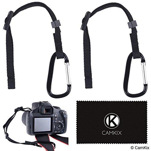 2x Kamera-Haltegurt mit Karabiner - Sichern Sie Ihre DSLR oder Kompaktkamera doppelt - Zuerst an der Kameraöse befestigen - Dann an Kameragurt, Stativ, Einbeinstativ etc. anschließen