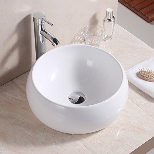 Top in ceramica bianca Wxran moderno design bagno controsoffitto ciotola rotonda lavandino + free pop up rifiuti include, Ceramica, White, Round 15.75 x 15.75 x6 inch