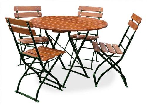 EuroLiving Bière de Jardin 1 Table Ø100 cm & 4 x Chaise Edition de Classic Ocre/Vert
