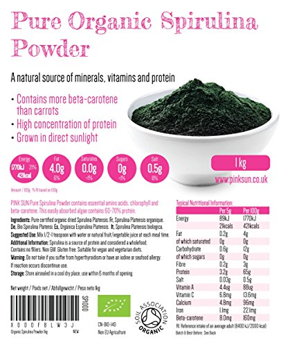 Organic Spirulina Powder 1kg – Gluten Free, Non GM, Suitable for Vegetarians and Vegans, Certified Organic by the Soil Association PINK SUN 1000g