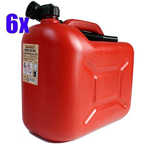 6er Set: 6x Benzinkanister KKR 20 PE 20 Liter rot (Reservekanister)