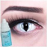 Farbige Kontaktlinsen Grey Dragon in grau + 60ml Pflegemittel + Behälter - Funnylens Markenqualität, 1Paar (2 Stück) farbige lenses perfekt zu Halloween, Karneval, Fasching oder Fastnacht