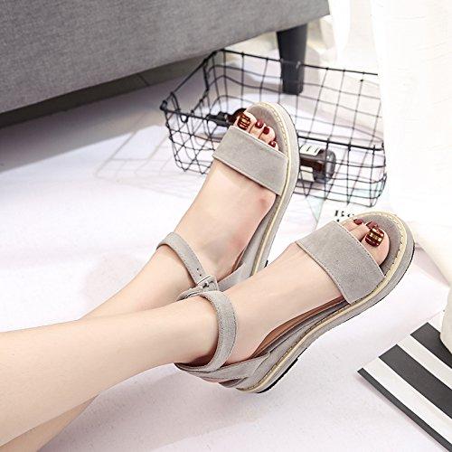 Lgk & fa estate sandali sandali da donna estate piatto impermeabile tavolo scarpa da donna Grey