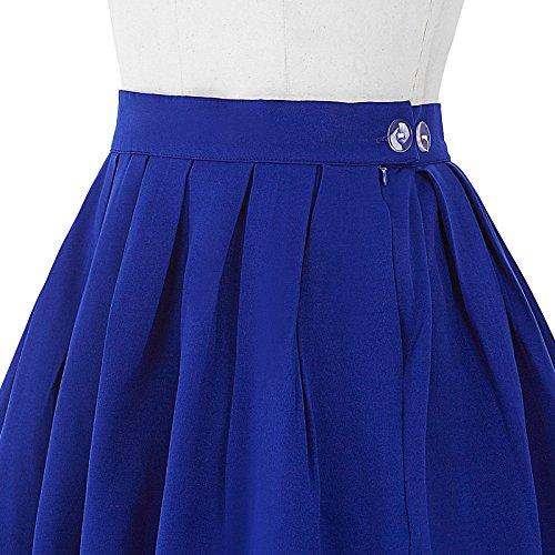 Damen A-linien Roecke Elegant Faltenrock Knielang Vintage mit Mehren Farben CL6294 Saphirblau