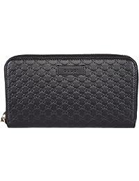 Gucci Donna Pelle MICRO GG Gucci Guccissima portafoglio con zip INTORNO  (nero) 4b916363fd69