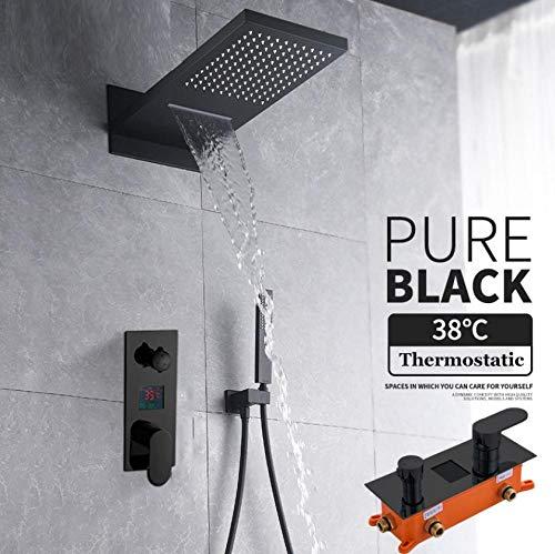 Dusche Wasserhahn Set 3-Wege-Digitalmischer Ventil Regen & Wasserfall Duschkopf Wandhalterung W/Handbrause für Badezimmer - Wand Handshower Set