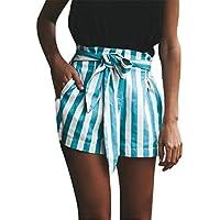LILICAT® Pantalones cortos de verano para mujer, Striped Elastic cintura alta Vendaje Easy Bow Tie pantalones sueltos Shorts de playa Chanda shorts Casual sport Short Pants (XL, Azul)