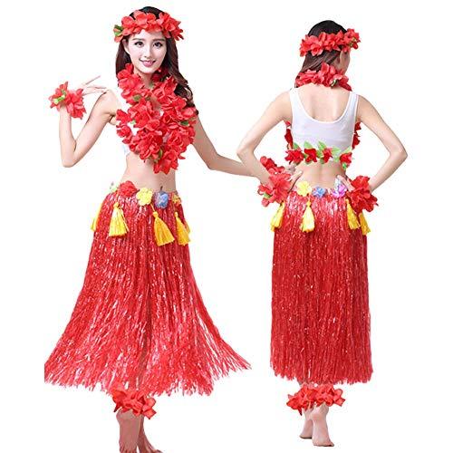 Kostüm Großer Büstenhalter - G-like Hula Tanz Kleid Kostüm - Hawaii Tanzkleid Grasrock Zubehör Sexy Outfit Kleidung Set Verzierung Quasten Blumen Party Cosplay Maskerade Strandurlaub für Damen Mädchen - Kunststoff 8 In 1 (Rot)
