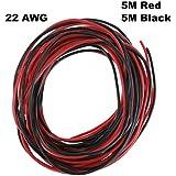 ycnk 22AWG alambre de silicona de calibre 10M cable eléctrico de cobre suave y Flexible de alta temperatura resistente (5m negro y 5m rojo)