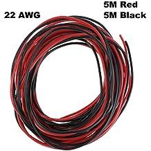 22 AWG Gauge Silicone Wire 10M Soft y Flexible Copper Wire resistente a altas temperaturas (5M negro y 5M rojo)