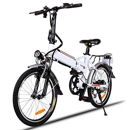 BIKFUN Vélo de Montagne Pliable pour vélo électrique, 26/20 pneus Vélo électrique pour vélo Ebike 250 W, Batterie au Lithium 36V 8Ah, Suspension Complète Premium, Shimano 21/7 Vitesses
