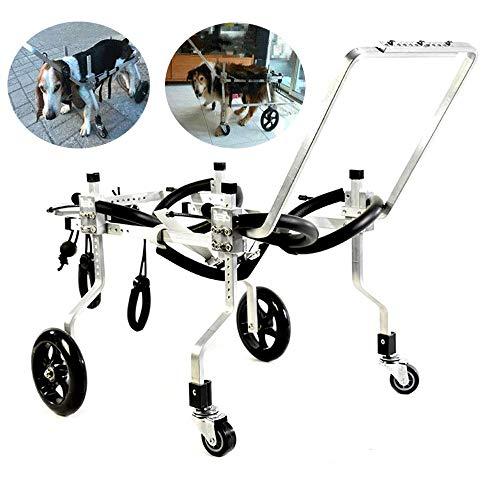 LANGYINH Hunde Rollstuhl Haustier Wagen,Ganzkörper Stützhundewagen,Reha Hilfswagen,4 Rad,Fit für Large Medium Pet Dogs,XL~31