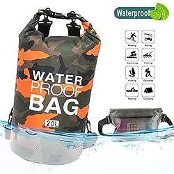 Idefair Bolsa Seca Impermeable, Mochila Seca Flotante Bolsa de Playa Saco seco liviano para la Playa, Paseos en Bote, Pesca, Kayak, natación, Rafting, Camping10L 20L (Naranja, 10L)