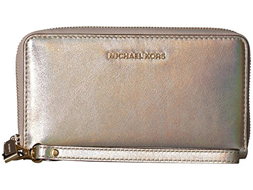Michael Kors Large Flat Pale Gold Leather Multifunction Phone Case Wristlet