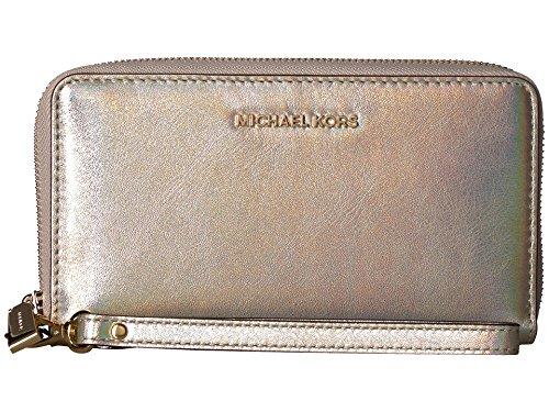 Michael Kors Large Flat Pale Gold Leather Multifunction Phone Case Wristlet (Michael Kors Gold Flats)