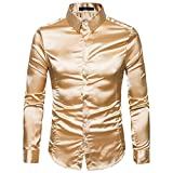 Chevalier Chemise Homme Slim Fit Brillant Boite de Nuit Style Manches Longues Chemises Disco Danse Tops Costume Party Clubwear Halloween/Cosplay Or S-XXL