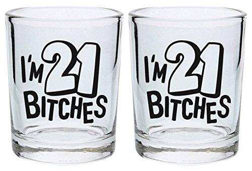 21. Geburtstag Shot Glas I 'm 21Bitches Geschenk rund Shot Glas schwarz (Geburtstag 21. Shot Glas)