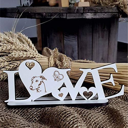Deko Aufsteller LOVE mit Herzen und Hunde Motiv « WHIPPET Kopf » Größe ca. 20 x 8 cm - Dekoration Schild Home Accessoires - Liebe Herz Hund Hunderasse Kleiner Englischer Windhund -