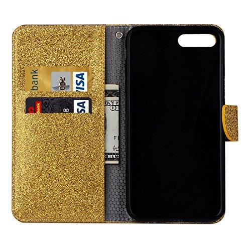 Wkae Glitter Powder Leder Tasche mit Halter & Wallet & Card Slots für iPhone 7 Plus ( Color : Gold ) Gold
