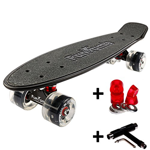 FunTomia Mini-Board Cruiser Skateboard mit 70/65mm Big Wheel Rollen inkl. ABEC-11 MACH1® Kugellager (auch mit LED Rollen) (Schwarz FunTomia LED + T-Tool + Lenkgummis)