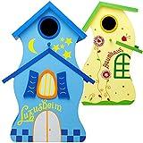 Unbekannt Design Vogelhaus - Farbmix - aus Holz - 30 cm - Nistkasten, Vogelhäuschen - für Garten & Balkon - Bunte Farben / Haus - zum Aufhängen & Hinstellen - Vögel NIS..