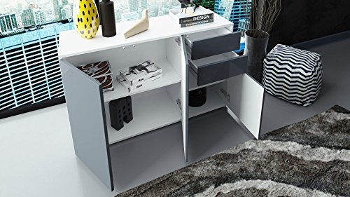 Kommode Sideboard Ben V3, Korpus in Weiß matt / Fronten in Weiß Matt - 5