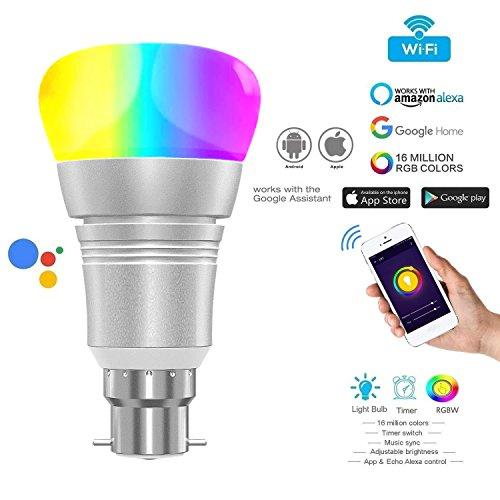 Led B22 Wi-Fi Lampen, WLAN Multi Farbe 11W, LED Smart, WIFI RGB + W2700-6400K, Glühbirne WIFI Alexa E27, Alexa-Stimmen-Intelligente Birnen-Licht-Handy WIFI Fernbedienung (6400K3) (Led B22 Lampen)