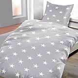 Ropa de cama franela Salim con cremallera de 2piezas gris estrellas