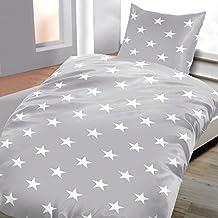 Ropa de cama franela Salim con cremallera de 2 piezas gris estrellas