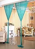 AIZESI Vorhänge Funkelnd Silber Fadengardine Fadenvorhang Verdunklungsvorhänge Schiebevorhänge(Tiffany blue)