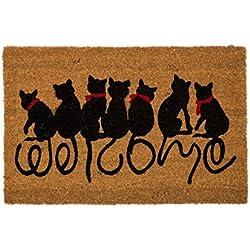 Felpudo Original Welcome Cats Diseño de Gatos de Fibra de Coco