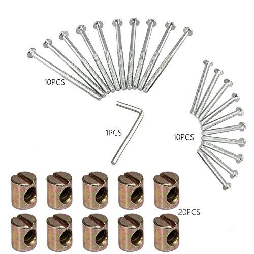 Barrel Blot Nuts Kit Inklusive M6 x 4inch Barrel Blots, M6 x 2,48 Zoll Barrel Bolzen, M6 x 0.49inch Barrel Nuts und 1 x Inbusschlüssel, für Möbel, Babybetten, Betten, Krippe und Stühle