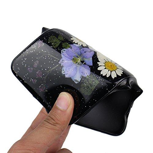 iPhone 6S Plus Noir Souple Coque avec Fleurs séchées, iPhone 6 Plus Arrière Etui, Moon mood® Ultra Mince Flexible TPU Silicone Etui Noir Coque avec Vraie Fleur pour Apple iPhone 6 Plus Téléphone Coqui Fleur-5