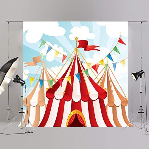 joypark Circus Zelt Foto Booth Hintergrund für Party Dekorationen Supplies Fotografie Rückseite Drop für Baby-Dusche Oder Geburtstag Bilder Vinyl Requisiten, XT4786, 8x8ft(250x250cm)