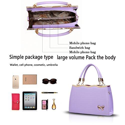 Sunas Sacchetto di spalla trasversale del sacchetto del messaggero del sacchetto di spalla delle nuove borse di bowknot della borsa delle signore viola