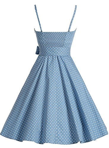 Bbonlinedress Vintage 50s 60s Retro Rockabilly Cocktailkleid mit abnehmbarem Schultergurt RoyalBlue White Dot XL - 4