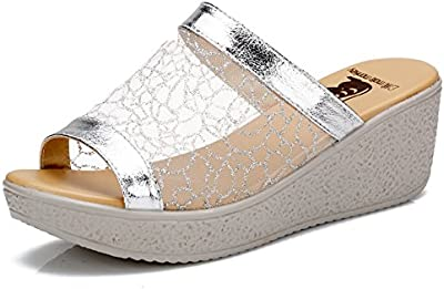 Malla zapatillas/Mujer con zapatillas de suela gruesa/Plataforma sandalias de cuñas