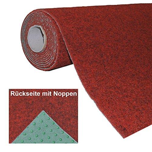 havatex Rasenteppich Kunstrasen mit Noppen 1.550 g/m schadstoffgeprüfter Nadelfilz | wasserdurchlässig und strapazierfähig | Balkon Terrasse Camping, Farbe:Rot, Größe:200 x 150 cm