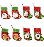 HONGCI 8er Weihnachtsstrümpfe Socken Weihnachtsdeko Weihnachten Bestecktasche Besteckhalter Weihnachtsbaumschmuck Tischdekoration (Set 1)