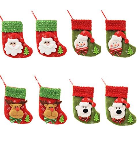 HONGCI 8er Weihnachtsstrümpfe Socken Weihnachtsdeko Weihnachten Bestecktasche Besteckhalter Weihnachtsbaumschmuck Tischdekoration (Set 1) -