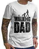 Stylotex Lustiges Herren Männer T-Shirt Basic | The Walking Dad | Geschenk für werdende Papas, Größe:S, Farbe:Weiss