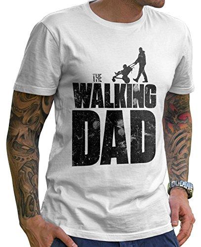 Stylotex Lustiges Herren Männer T-Shirt Basic | The Walking Dad | Geschenk für werdende Papas, Größe:M, Farbe:Weiss -