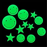 Bfeplfashion Home Decal Glow In The Dark Bedroom Corridor Ceiling Wall Fluorescent Stickers - Smile Face & Star