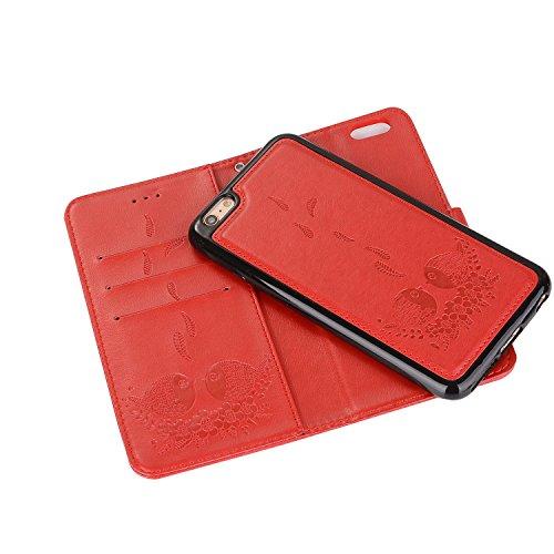 EUWLY Custodia Protecttiva Cover per iPhone 6 Plus/iPhone 6s Plus (5.5) PU Pelle Portafoglio Custodia Caso Goffratura Carino Cute Uccello Grasso e Fiore Pattern Designo Wallet Custodia in Pelle Cover Rosso