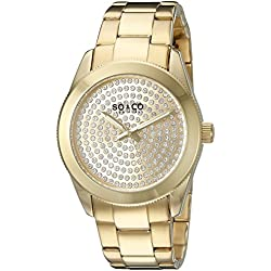 SO & CO New York Madison Women's Quartz Watch with Gold Dial Analogue Display and Gold Stainless Steel Bracelet 5067.2