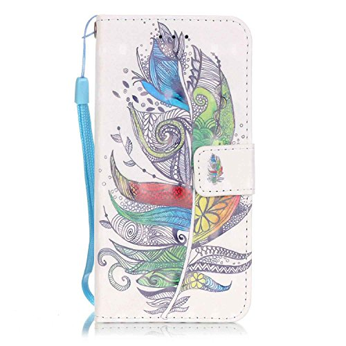 SainCat Coque Etui pour Apple iPhone 7 Cover Bumper,Anti-scratch Cuir Dragonne Portefeuille PU Cuir Etui Relief fille papillon Housse pour iPhone 7,Etui de Protection PU Leather Case Bling Diamond Bri Plumes coloré #
